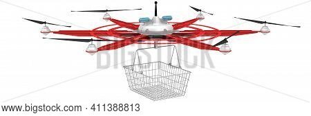 Hexacopter For Cargo Delivery. Unmanned Aerial Vehicle With Six Propellers For Cargo Delivery With E