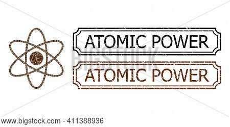 Collage Atom Composed Of Coffee Beans, And Grunge Atomic Power Rectangle Seals With Notches. Vector