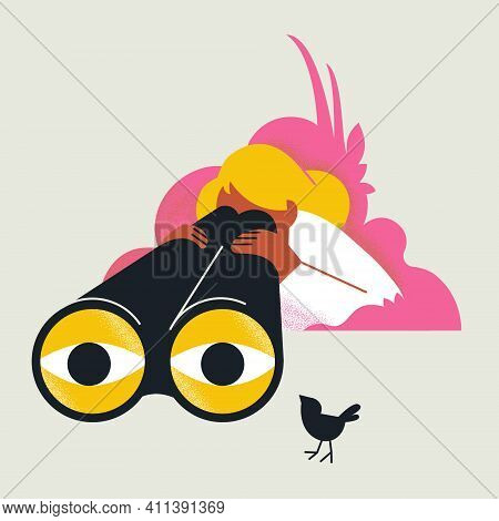 Blonde Girl Looks Trough Binocular. Cute Bird Near