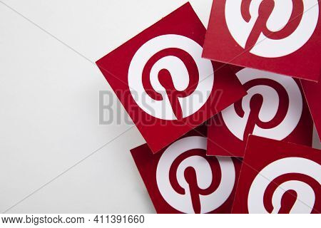 London, Uk - March 2021: Pinterest Logo, Popular Image Sharing Platform