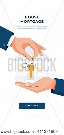 Mortgage Concept. Male Hands Giving Keys For Property Buying. Deal Sale, Mortgage Loan, Real Estate,