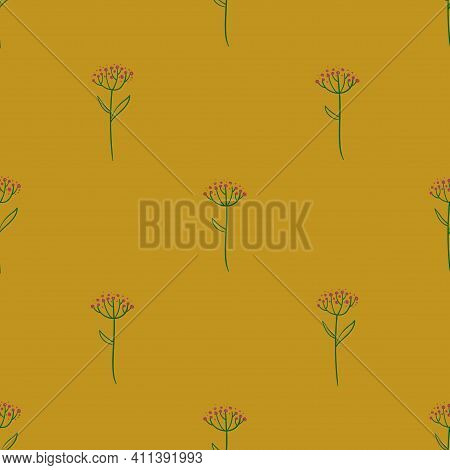 Tender Floral Seamless Pattern. Simple Rustic Wildflowers Wallpaper On A Yellow Background.