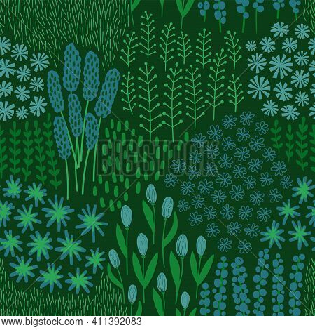 Floral Seamless Pattern. Rustic Wildflowers Wallpaper On A Deep Green Background.