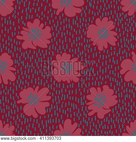 Bohemian Floral Seamless Pattern. Rustic Wildflowers Wallpaper On A Deep Pink Background.