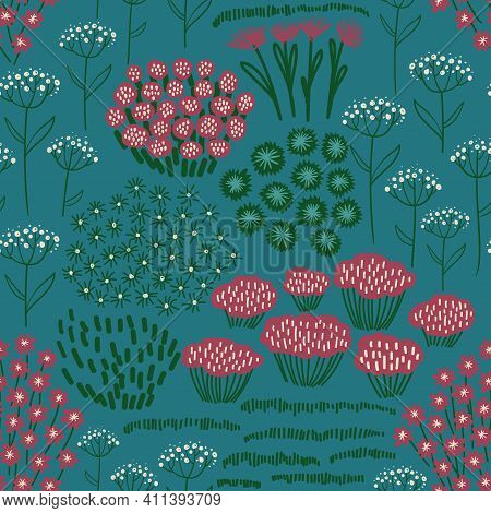 Bohemian Floral Seamless Pattern. Rustic Wildflowers Wallpaper On A Deep Green Background.
