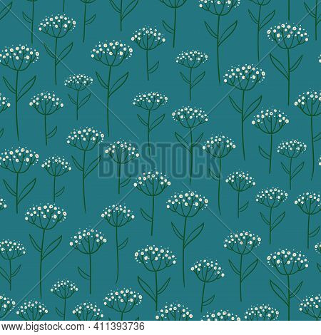 Floral Seamless Pattern. Rustic Wildflowers Wallpaper On A Deep Blue Background.