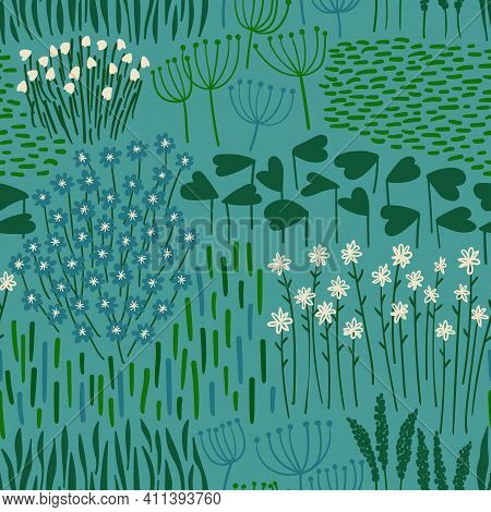 Floral Seamless Pattern. Rustic Wallpaper With Wildflowers, Leaves And Grass On A Deep Blue Backgrou