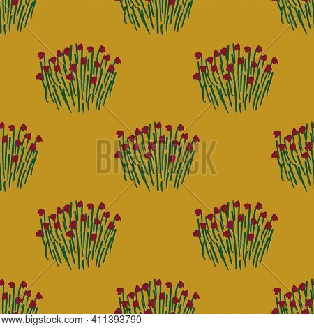 Bohemian Floral Seamless Pattern. Rustic Wildflowers Wallpaper On A Deep Yellow Background.
