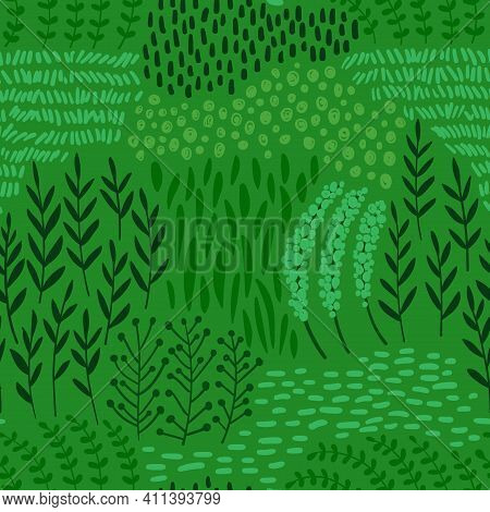 Bold Floral Seamless Pattern. Rustic Wallpaper With Wildflowers, Leaves And Grass On A Green Backgro