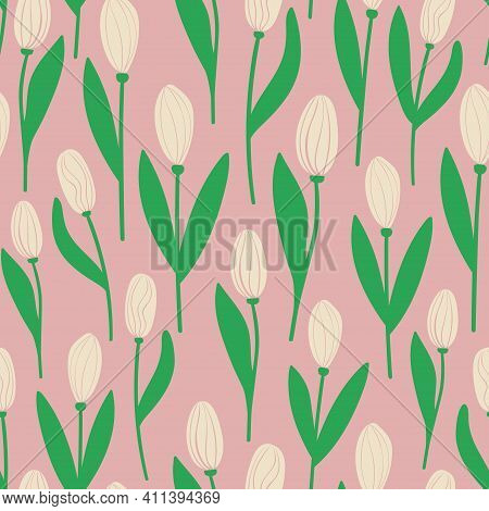 Floral Seamless Pattern. Rustic Wallpaper With Tulip Flowers On A Pink Background.