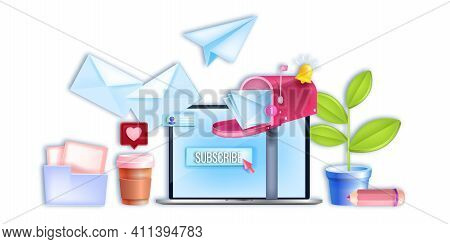 Vector Email Digital Business, Internet Marketing Banner, Laptop Screen, Subscribe Button,open Mailb