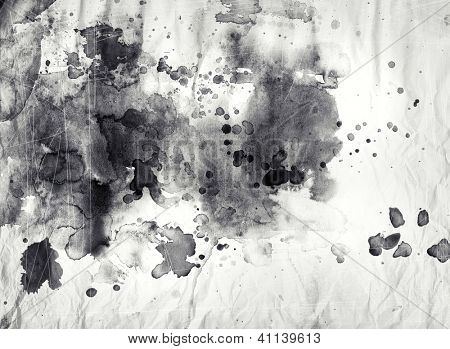 Abstract black and white ink painting on grunge paper texture