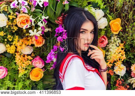 Beauty Young Asian Woman Portrait Beautiful Girl Has Beautiful Face, Long Hair Attractive Lady Stand