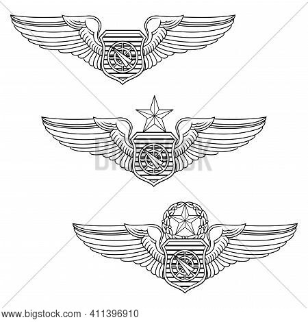 U.s. Air Force Weapons Controller Officer Badge Set Is An Illustration That Includes The Basic, Seni