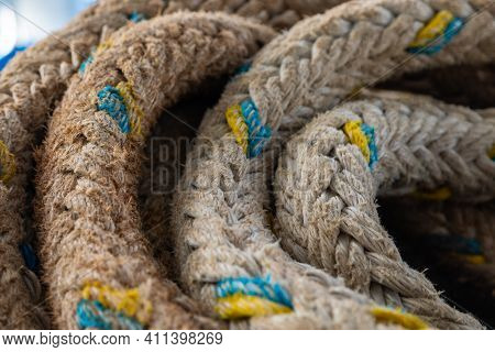 Coiled Rope For Mooring Aboard The Ferry During The Voyage. Cyclades Archipelago, Greece.