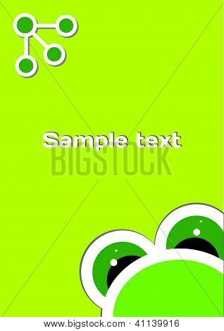 The big funny frog on the green template background