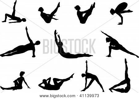 Pilates silhouettes of working out and stretching on the white background