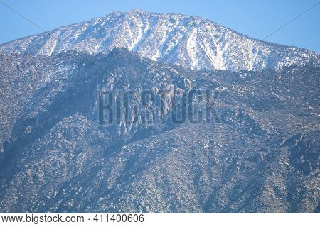 Rugged Snow Capped Mountains Including Snow Capped Mt San Jacinto Taken In Cabazon, Ca