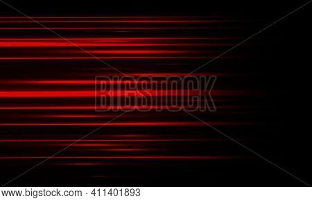 Abstract Red Light High Speed Motion On Black Background Vector Illustration.