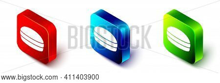 Isometric Macaron Cookie Icon Isolated On White Background. Macaroon Sweet Bakery. Red, Blue And Gre