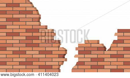 Broken Brick Wall. 3d View,  Brick Stone Wall Ruined, Old Building. Background For Cartoon.. Flat De
