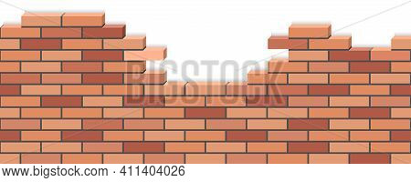 Broken Brick Wall. 3d Sometric View, Red Brick Stone Wall Ruins. Background For Cartoon Or Game Asse