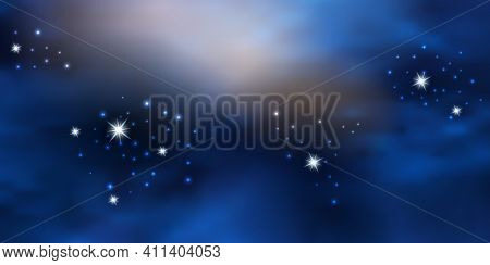 Blue Night Starry Sky. Cosmic Galaxy Space Background With Nebula, Shiny Flying Stars And Clouds. Ve