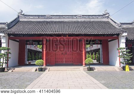 An Empty Inner Courtyard And Gate Within Shanghai Confucius Temple In Shanghai China On Sunny Day.