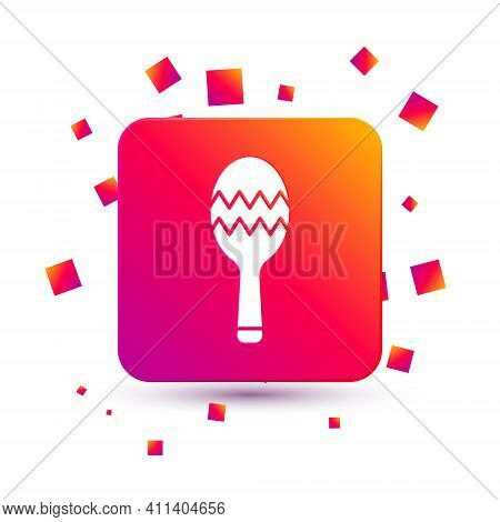 White Maracas Icon Isolated On White Background. Music Maracas Instrument Mexico. Square Color Butto