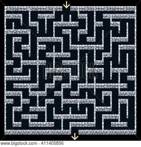 3d Maze, Labyrinth With Stone Walls.dungeon Escape Or Puzzle Game Level Design. Top Down View. Vecto