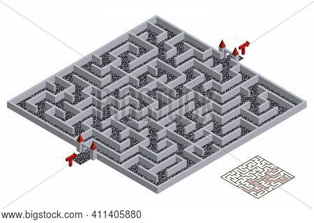 3d Maze, Isometric Labyrinth. Medieval Town Walls And Streets Design For Escape Or Puzzle Game Level