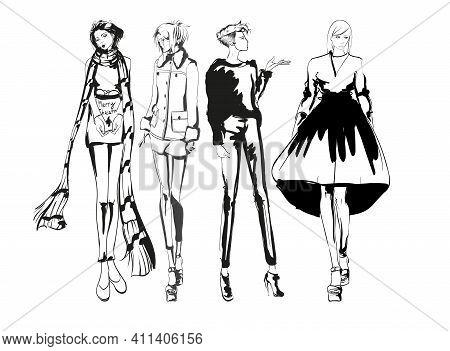 Beautiful Young Women In Modern Style.. Hand Drawn Stylish Woman Portrait. Fashion Lady. Autumn Outf