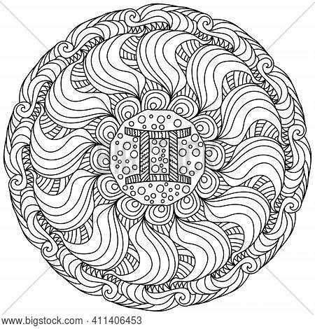 Mandala Zodiac Sign Gemini, Outline Coloring Page With Ornate Patterns And Curls Vector Illustration