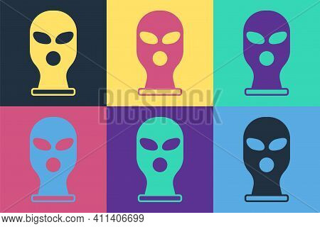Pop Art Balaclava Icon Isolated On Color Background. A Piece Of Clothing For Winter Sports Or A Mask