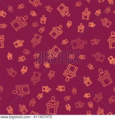 Brown Line Speaker Icon Isolated Seamless Pattern On Red Background. Orator Speaking From Tribune. P