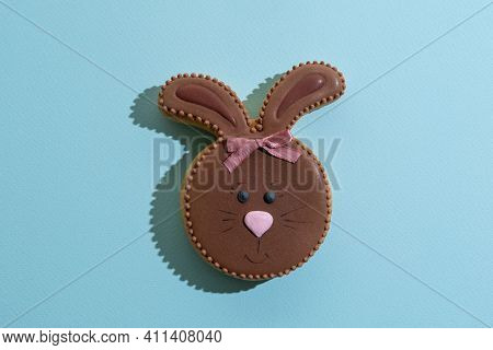 Festive Bakery Food. Cute Bunny Pastry. Sweet Gift. Holiday Party Decor. Pretty Rabbit Gingerbread C