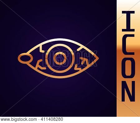 Gold Line Reddish Eye Due To Viral, Bacterial Or Allergic Conjunctivitis Icon Isolated On Black Back