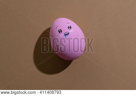 Egg Face. Hungry Yummy. Food Decor. Conceptual Art. Character Expression. Pink Figure With Wide Open