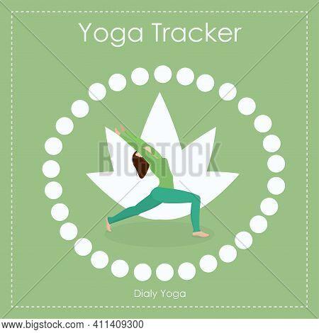 Vector Illustration Of A 30-day Yoga Challenge. Habit Tracker