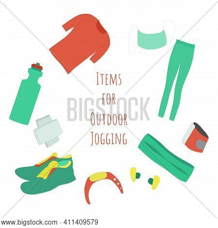 Set Of Common Items For Jogging. Isolated T-shirt, Tights, Phone Fixator, Bottle With Water, Fitness