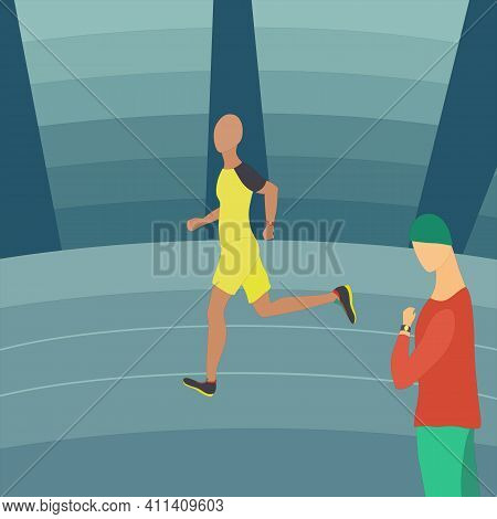 Athlete Running On The Stadium Track Under The Trainer Surveillance. Professional Training With Cont
