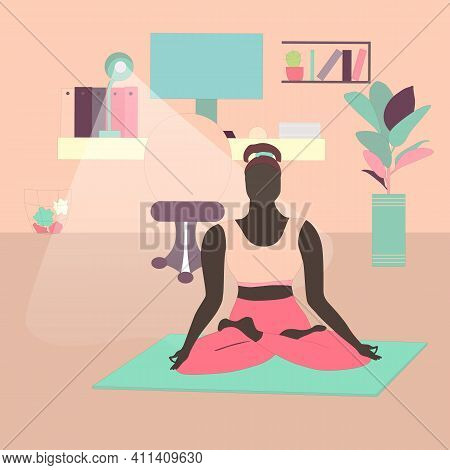 Woman Meditating In Lotus Pose At Home Office. Freelancer With A Healthy Lifestyle. Concept Of High