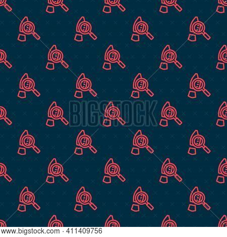 Red Line Magnifying Glass With Footsteps Icon Isolated Seamless Pattern On Black Background. Detecti