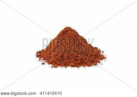 Tandoori Masala Mix Of Spices Heap Isolated On White Background. Spices And Food Ingredients.