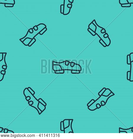 Black Line Triathlon Cycling Shoes Icon Isolated Seamless Pattern On Green Background. Sport Shoes,