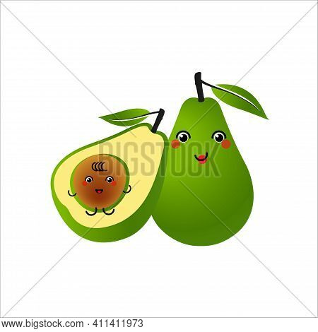 Avocado Characters Design On White Background. Happy Smiling Mom Of Avocado With Kid. Vector Illustr