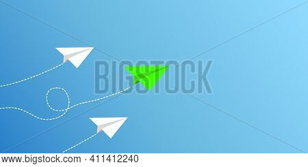 Paper Plane Flight. The Concept Of Leadership And Success. Business Concept. On A Blue Background. N
