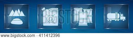 Set Oilfield, Canister For Motor Machine Oil, Barrel Oil And Tanker Truck. Square Glass Panels. Vect