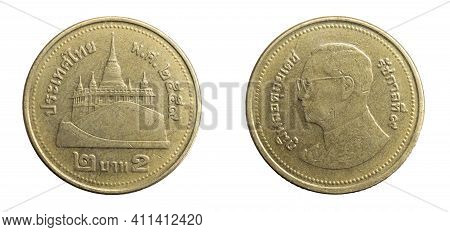 Thailand Two Cheats A Coin On A White Isolated Background