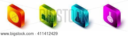 Set Isometric No Oil Drop, Oil Industrial Factory Building, Oil Petrol Test Tube And Oil Petrol Test